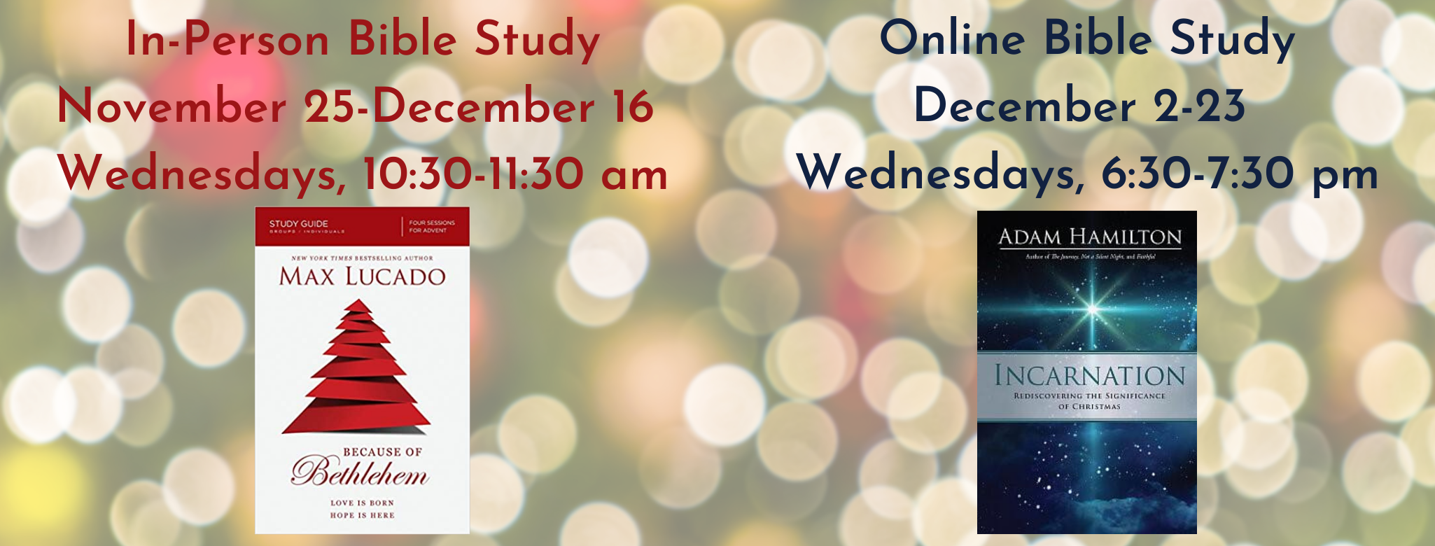In-Person Bible Study November 25-December 16 Wednesdays, 10_30-11_30 am
